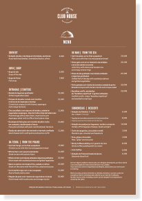 Club House Menu